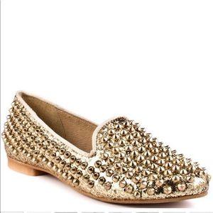 Steve Madden Glitter Gold Studded Ballet Flats